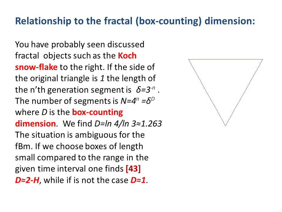 Relationship to the fractal (box-counting) dimension: