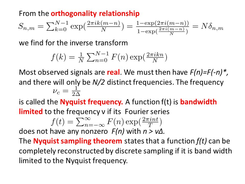 From the orthogonality relationship