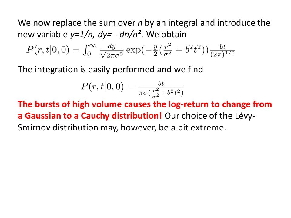 We now replace the sum over n by an integral and introduce the new variable y=1/n, dy= - dn/n². We obtain