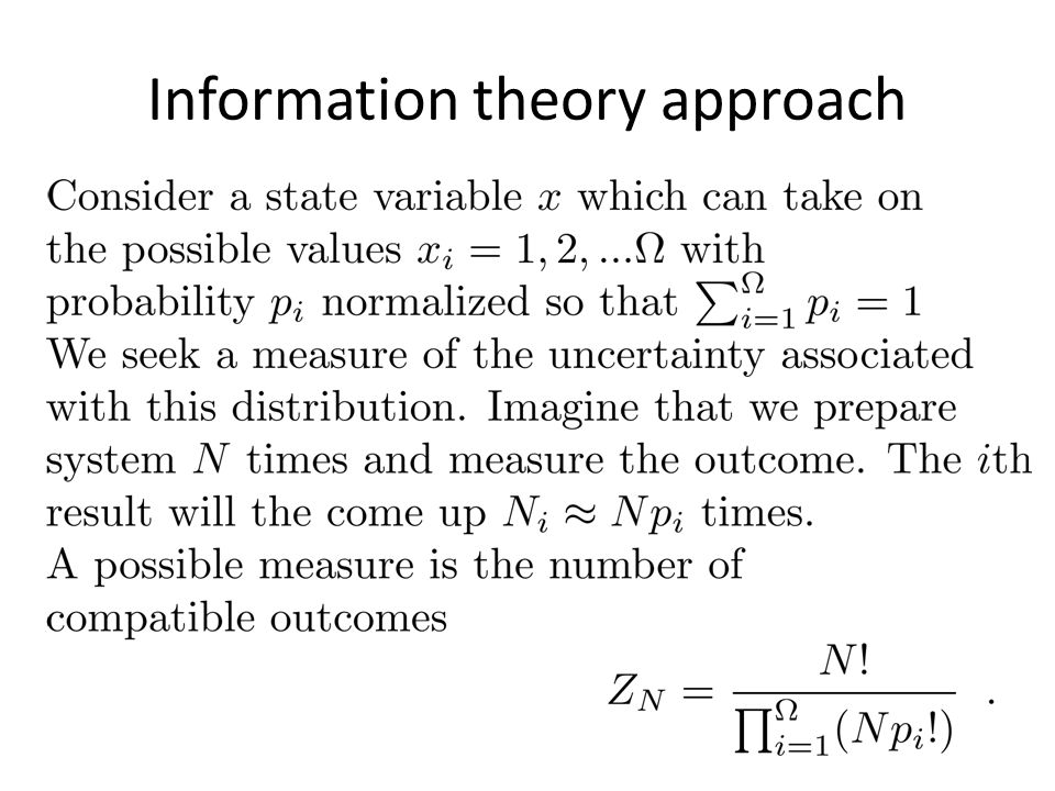 Information theory approach