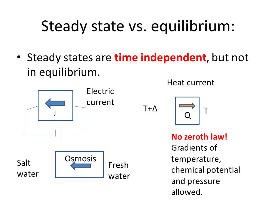 Steady state vs. equilibrium: