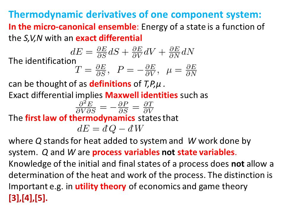 Thermodynamic derivatives of one component system: