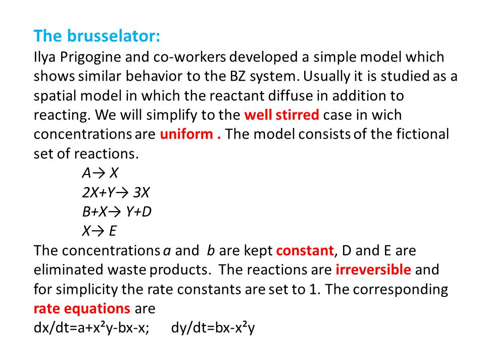 The brusselator: Ilya Prigogine and co-workers developed a simple model which.