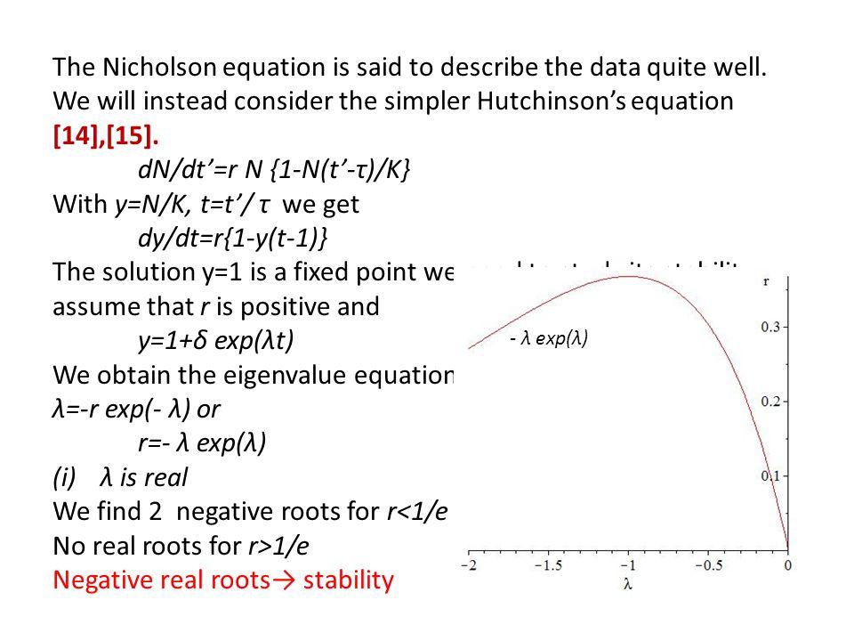 dN/dt'=r N {1-N(t'-τ)/K} With y=N/K, t=t'/ τ we get dy/dt=r{1-y(t-1)}