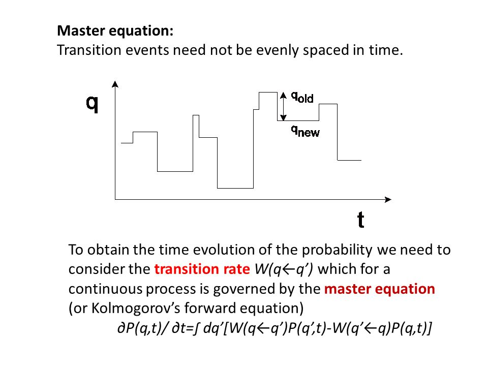 Master equation: Transition events need not be evenly spaced in time.