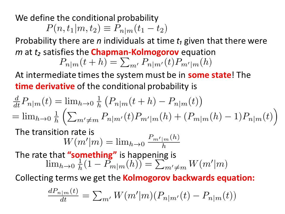 We define the conditional probability