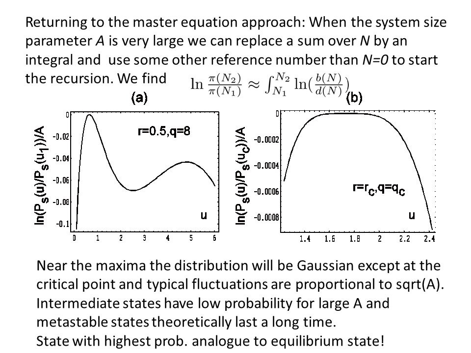 Returning to the master equation approach: When the system size parameter A is very large we can replace a sum over N by an integral and use some other reference number than N=0 to start the recursion. We find