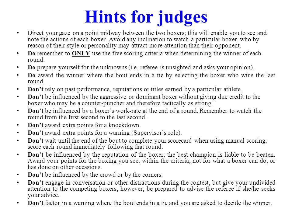 Hints for judges
