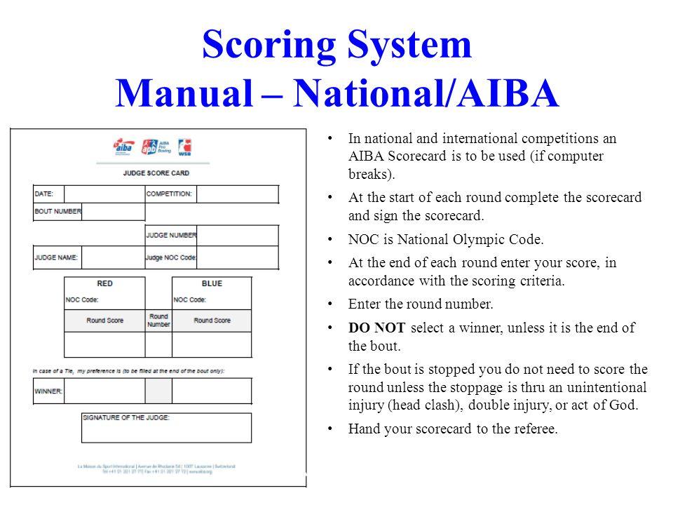 Scoring System Manual – National/AIBA