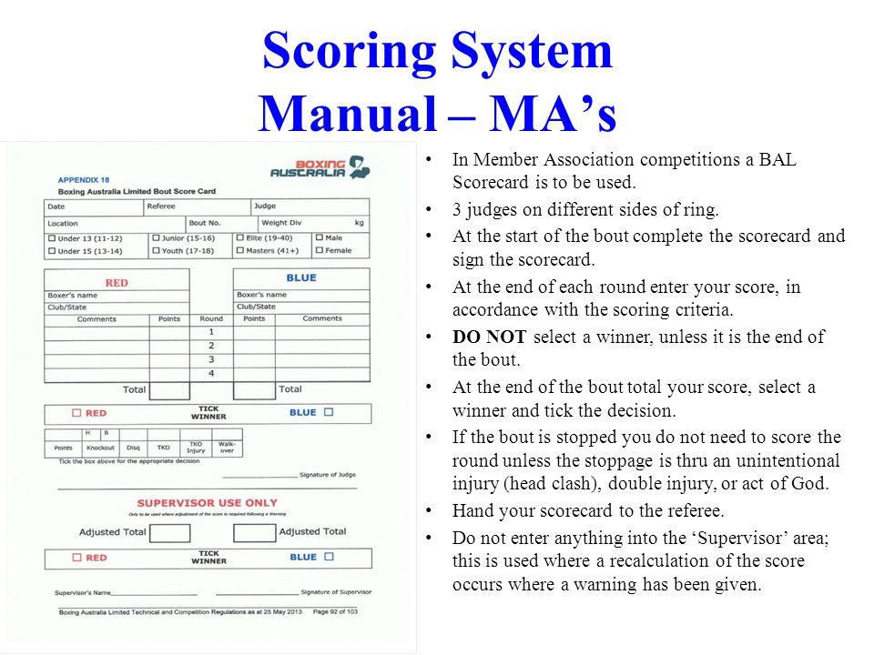 Scoring System Manual – MA's