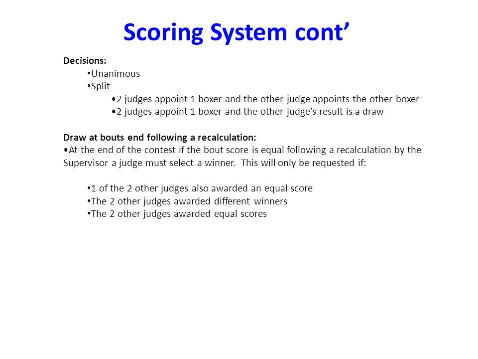 Scoring System cont' Decisions: Unanimous Split