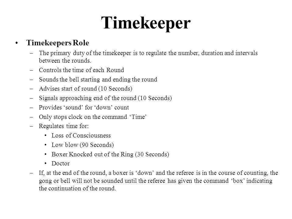 Timekeeper Timekeepers Role