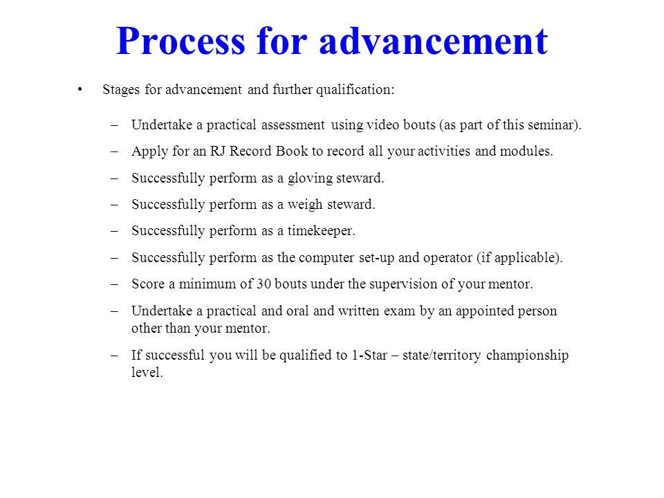 Process for advancement