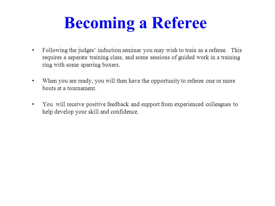 Becoming a Referee