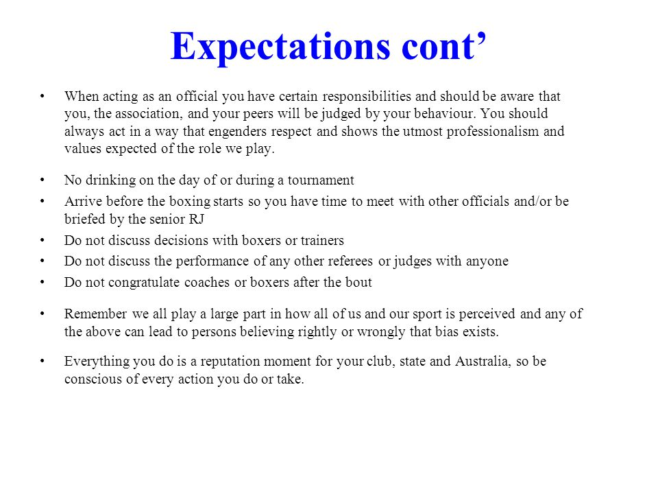 Expectations cont'