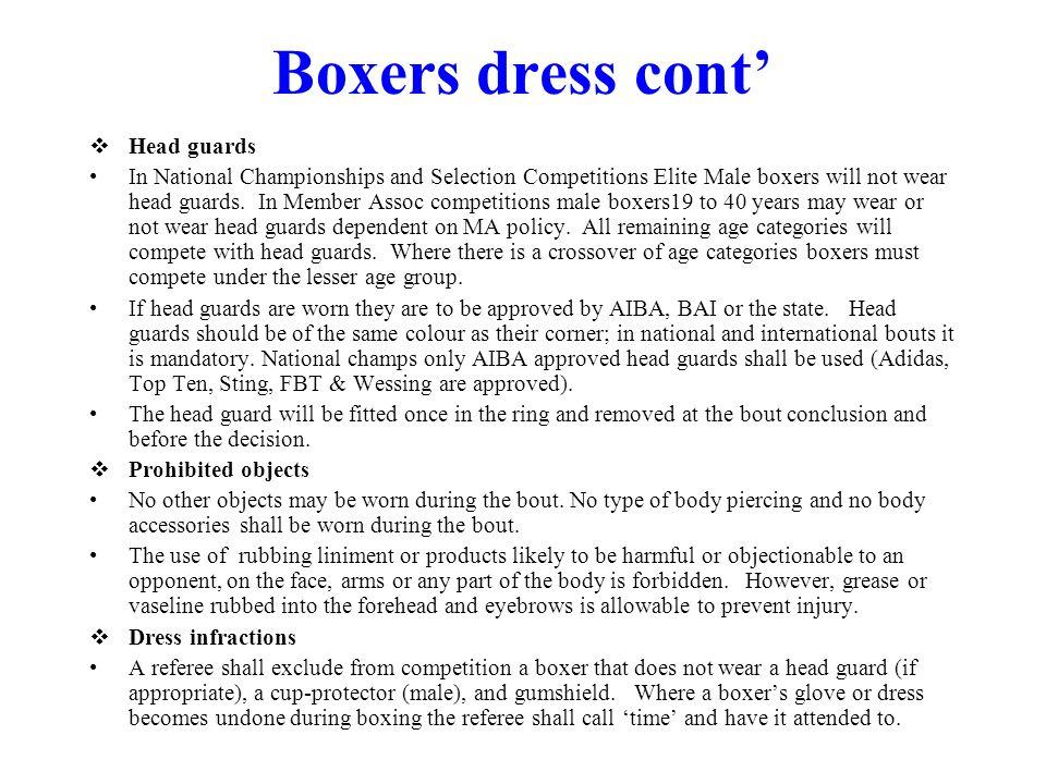 Boxers dress cont' Head guards