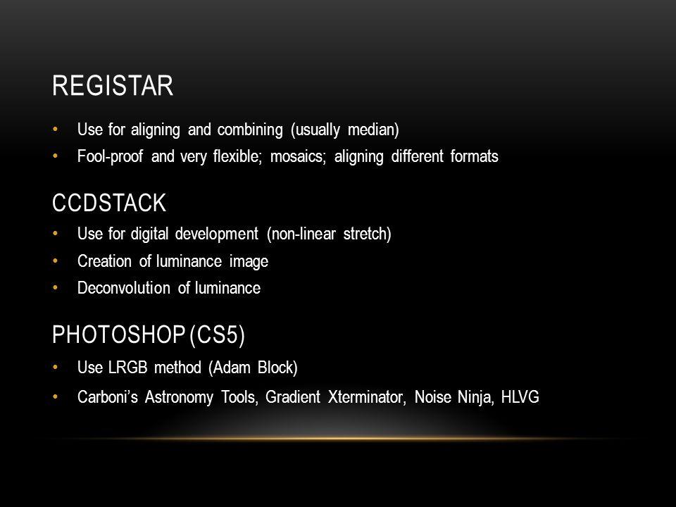 Registar CCDStack PHOTOSHOP (CS5)