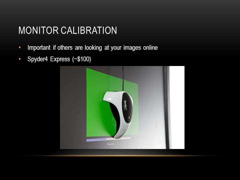 Monitor calibration Important if others are looking at your images online Spyder4 Express (~$100)