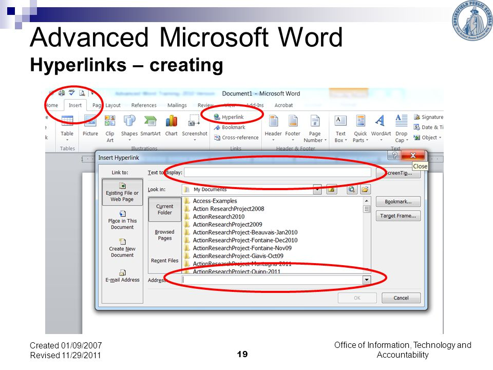 Advanced Microsoft Word Hyperlinks – creating
