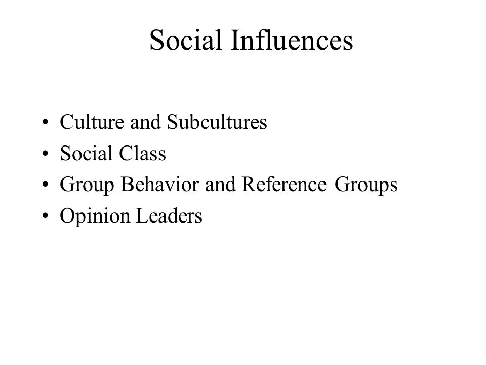 Social Influences Culture and Subcultures Social Class