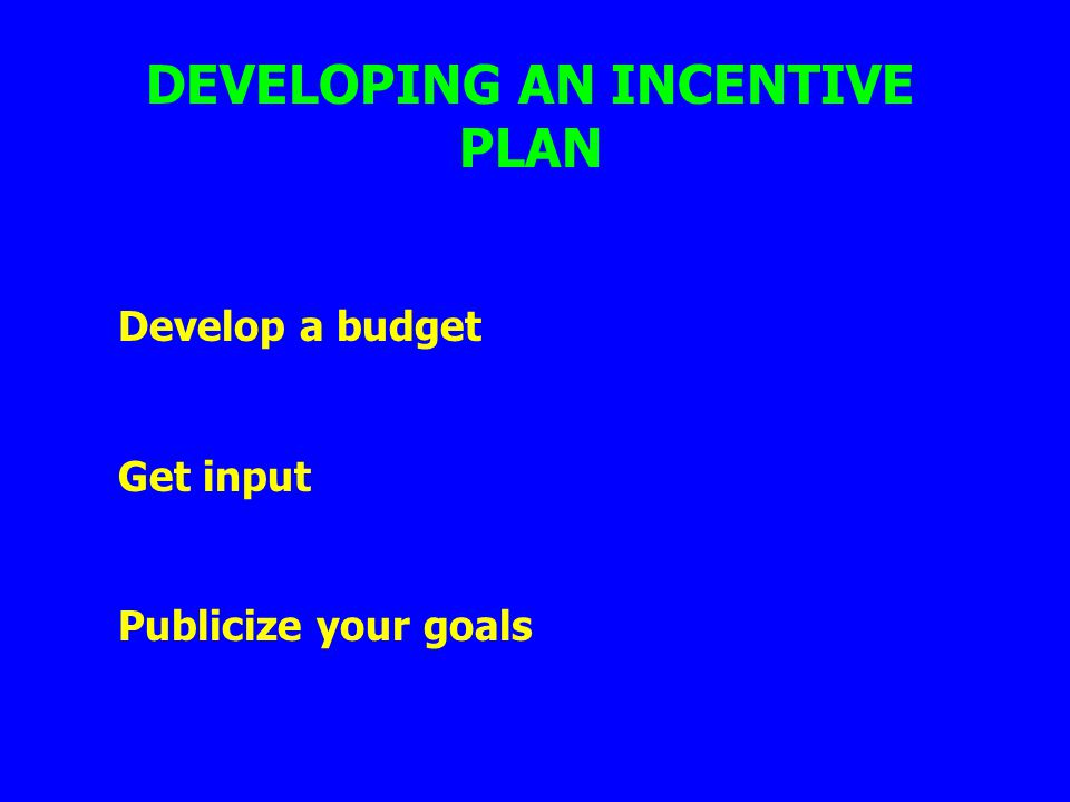 DEVELOPING AN INCENTIVE PLAN