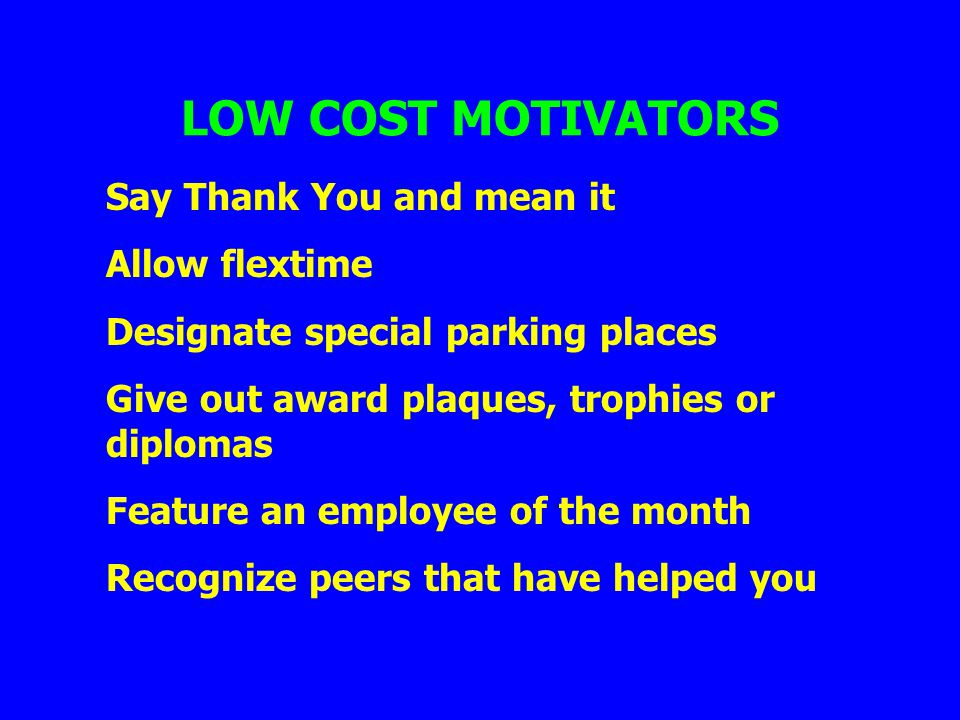 LOW COST MOTIVATORS Say Thank You and mean it Allow flextime