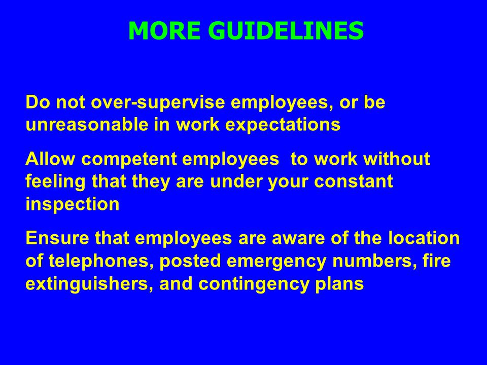 MORE GUIDELINES Do not over-supervise employees, or be unreasonable in work expectations.