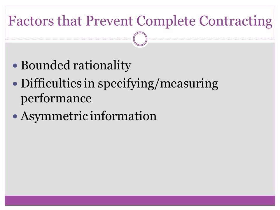 Factors that Prevent Complete Contracting