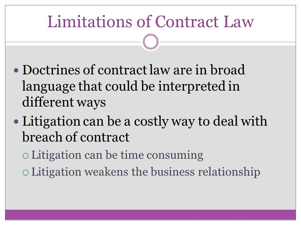 Limitations of Contract Law