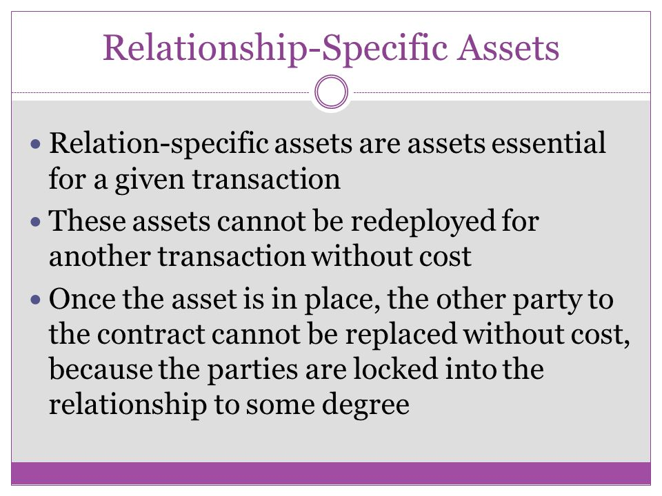 Relationship-Specific Assets