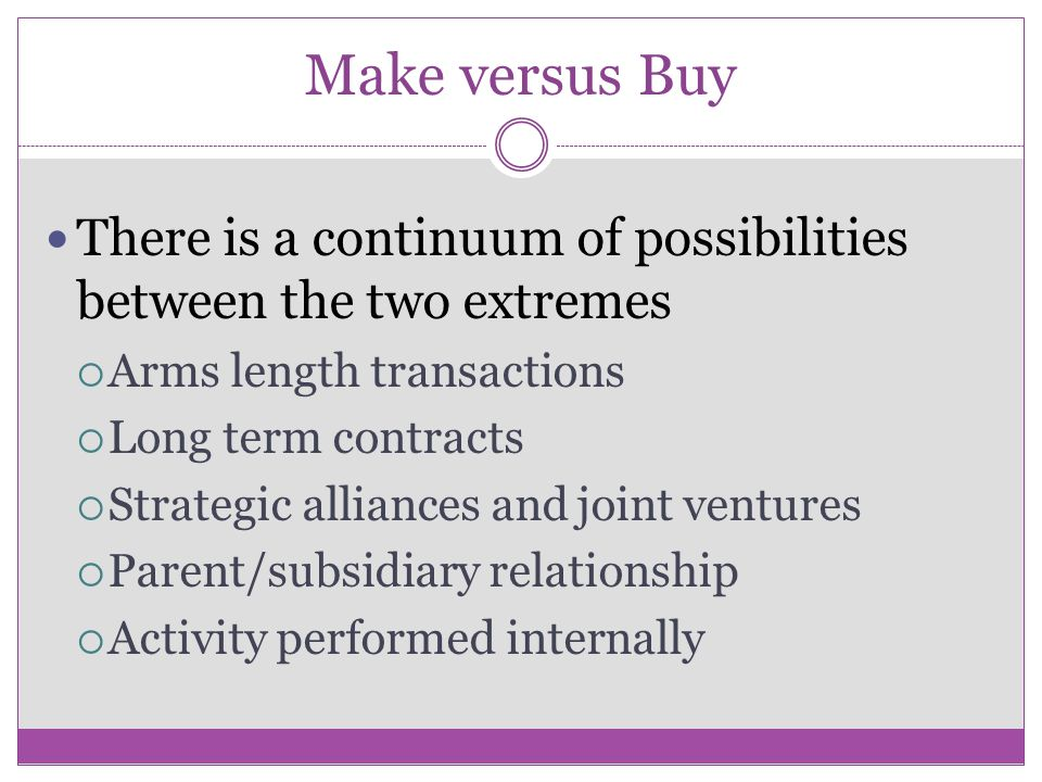 Make versus Buy There is a continuum of possibilities between the two extremes. Arms length transactions.