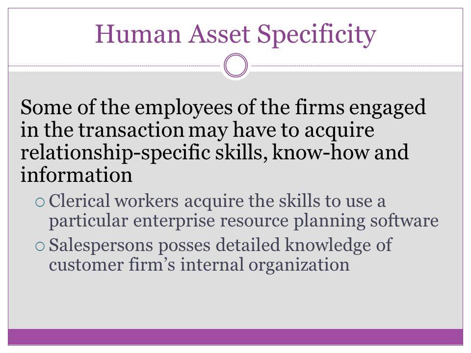 Human Asset Specificity