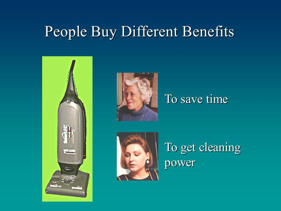 People Buy Different Benefits