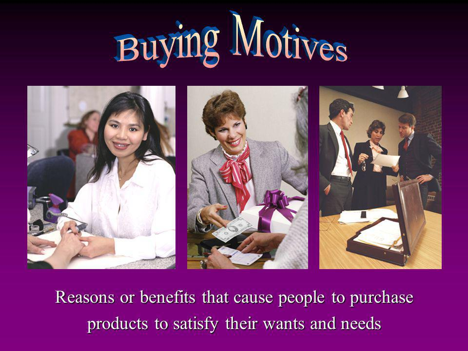 Buying Motives Reasons or benefits that cause people to purchase products to satisfy their wants and needs.