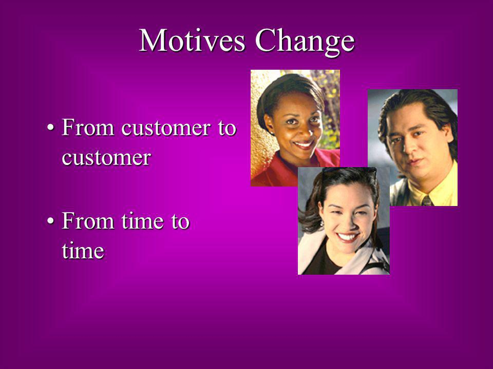 Motives Change From customer to customer From time to time