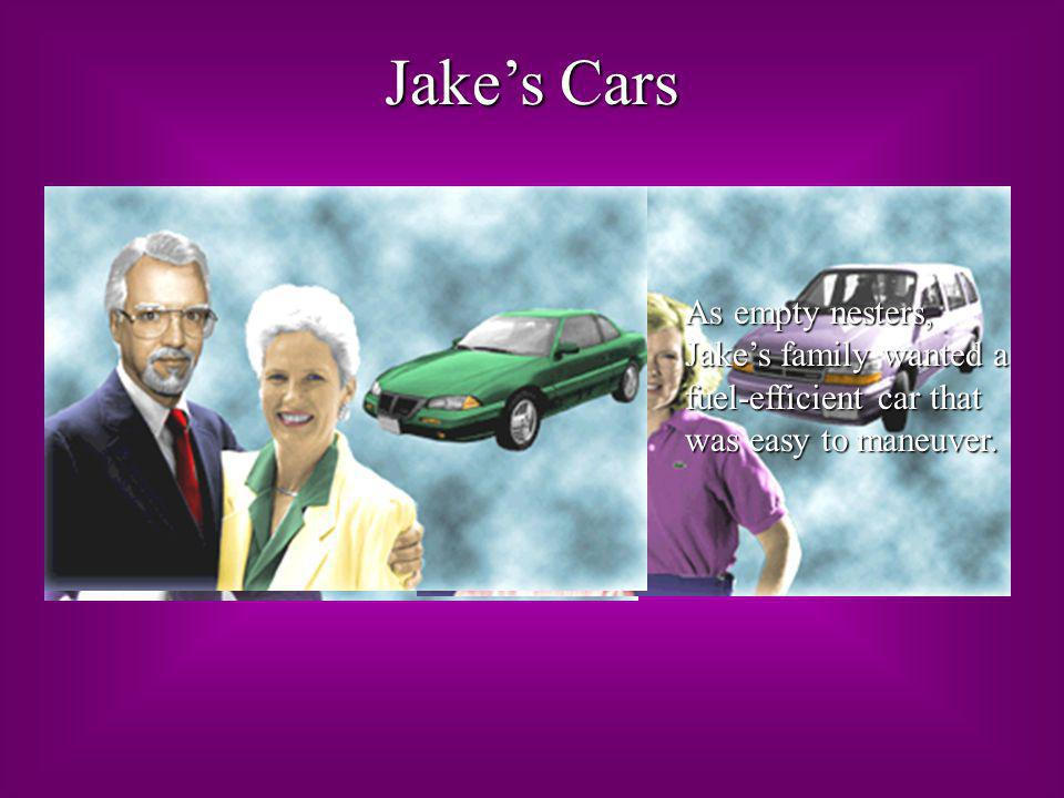 Jake's Cars As empty nesters, Jake's family wanted a fuel-efficient car that was easy to maneuver.