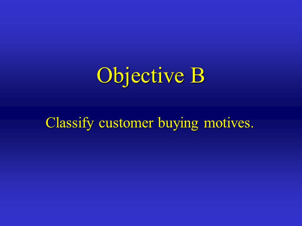 Classify customer buying motives.
