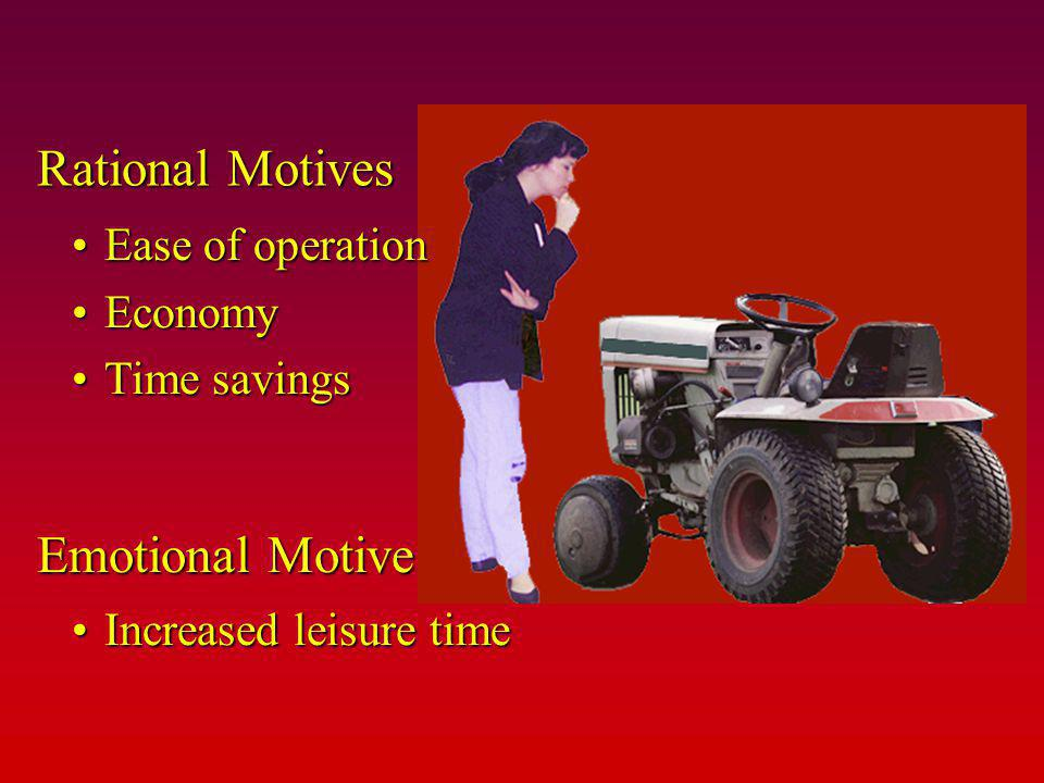 Rational Motives Emotional Motive Ease of operation Economy