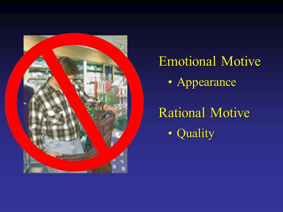 Emotional Motive Appearance Rational Motive Quality