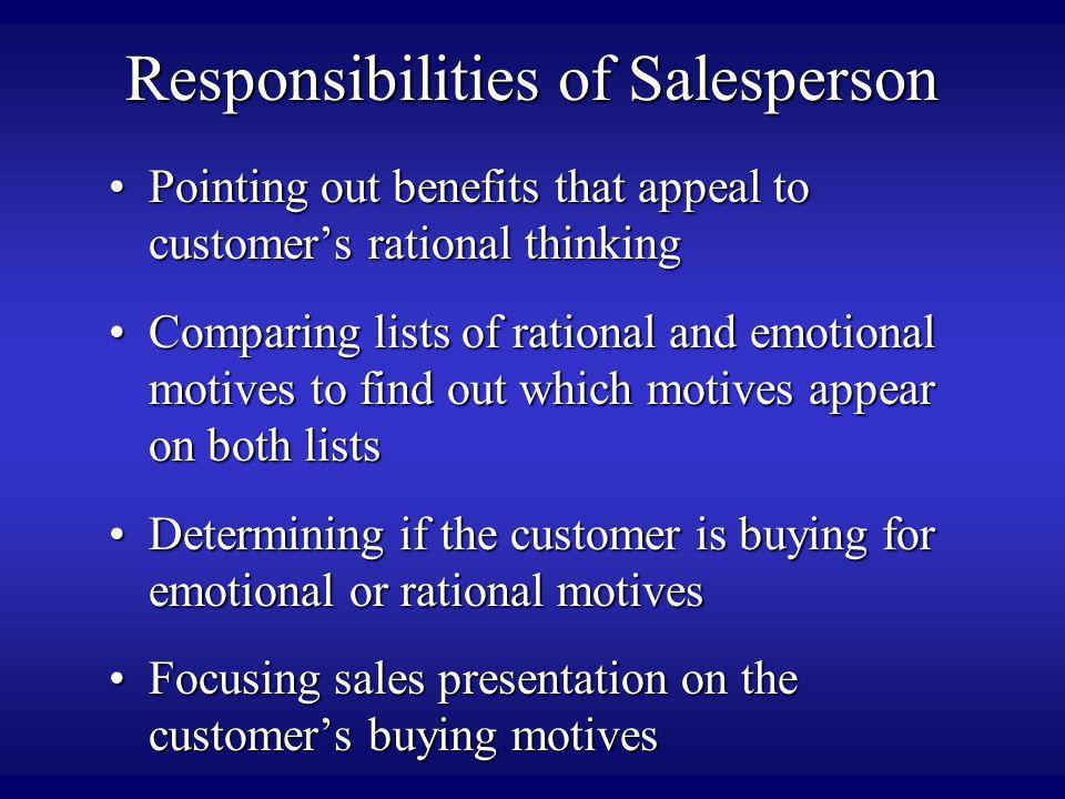Responsibilities of Salesperson