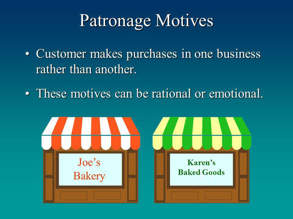 Patronage Motives Customer makes purchases in one business rather than another. These motives can be rational or emotional.