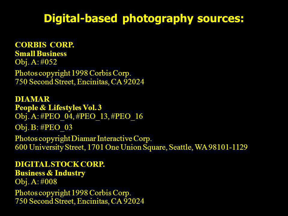 Digital-based photography sources: