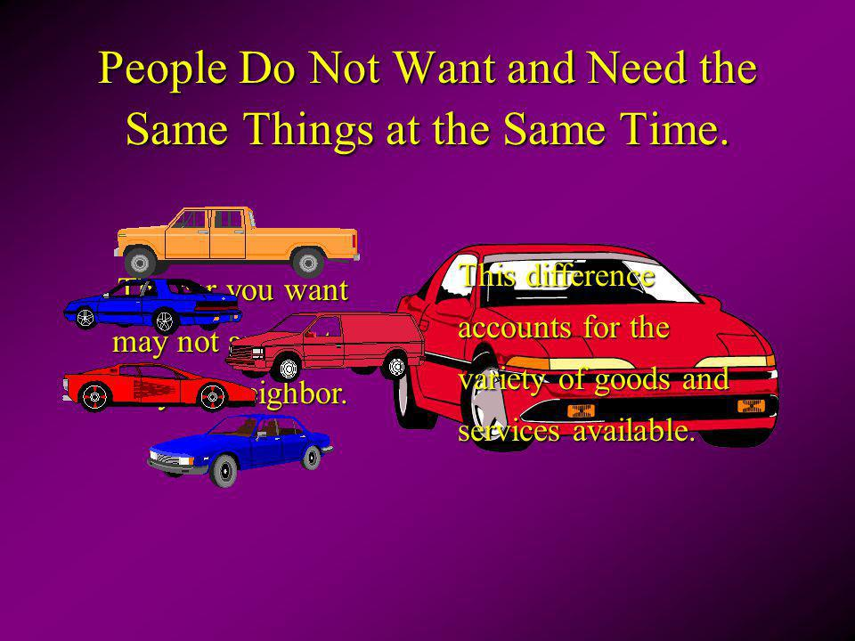 People Do Not Want and Need the Same Things at the Same Time.