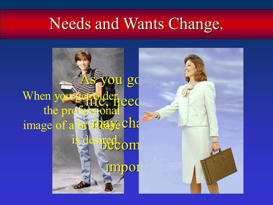 Needs and Wants Change. As you go through life, needs/wants may change or become less important.