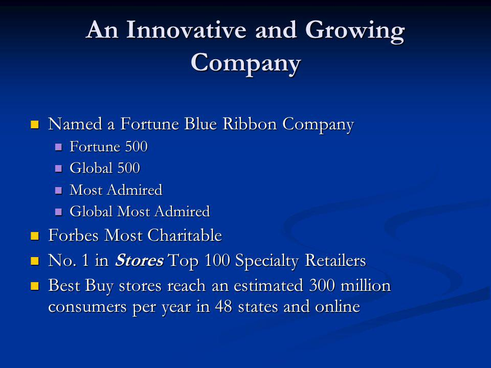 An Innovative and Growing Company
