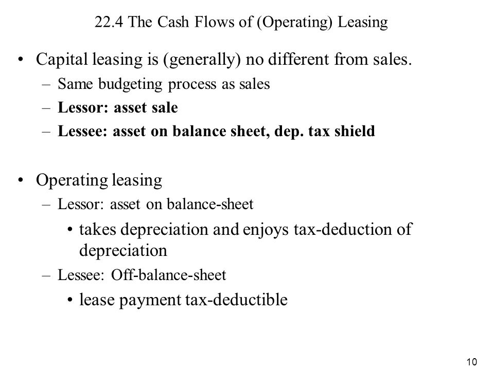 22.4 The Cash Flows of (Operating) Leasing