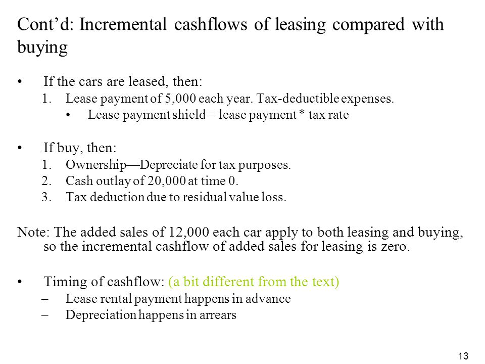 Cont'd: Incremental cashflows of leasing compared with buying