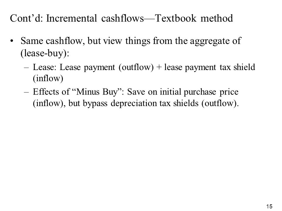 Cont'd: Incremental cashflows—Textbook method