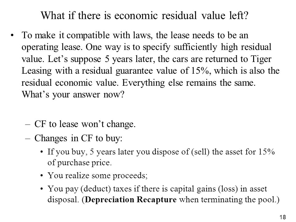 What if there is economic residual value left