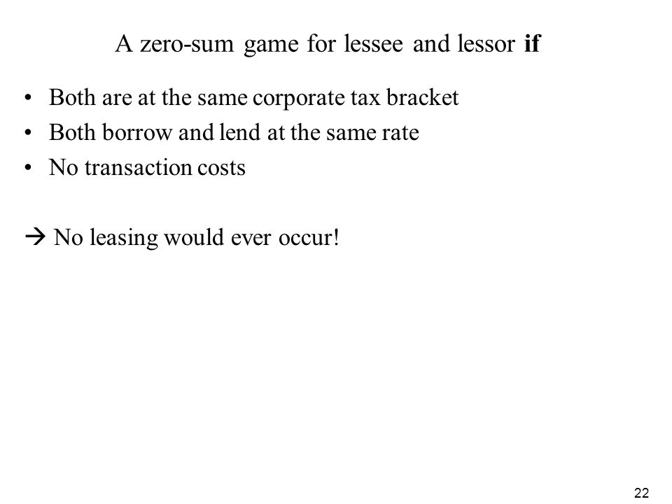A zero-sum game for lessee and lessor if